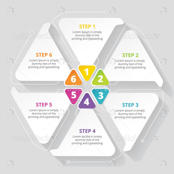 6 steps business process infographic template design - Vector Illustration