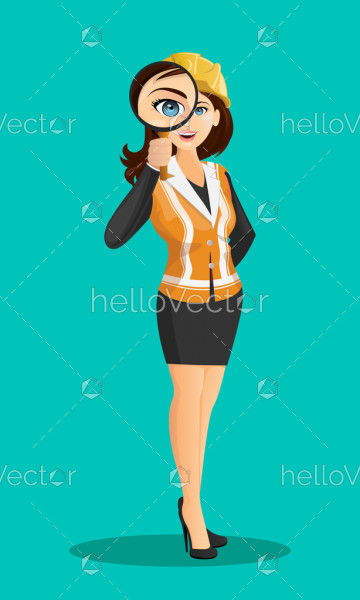 Cartoon girl with magnifying glass - Vector illustration