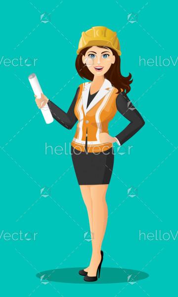 Female builder character in uniform - Vector Illustration