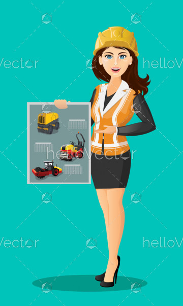Female builder character in uniform  - Vector Illustration