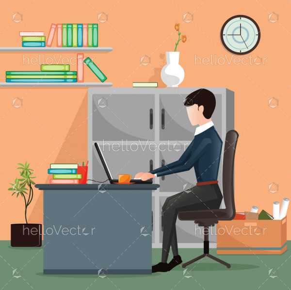 Professional man with laptop - Vector illustration