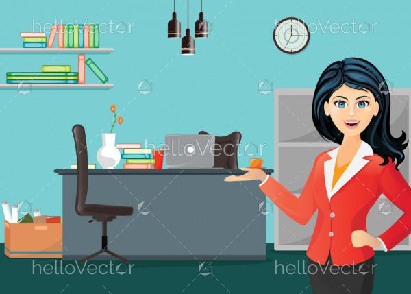 Cartoon girl in office - Vector illustration