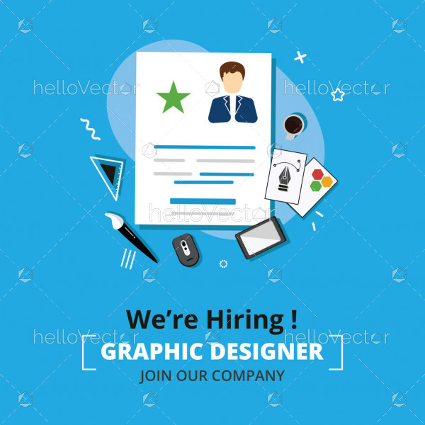 Business hiring and recruiting concept banner background illustration.