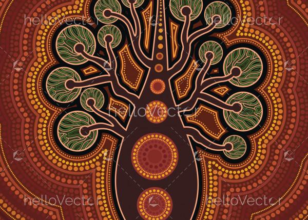 Aboriginal dot art vector painting with tree.