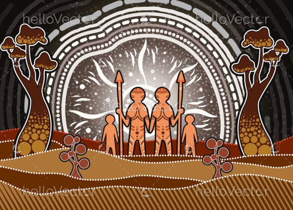 Aboriginal art showing the concept of a small and happy family.
