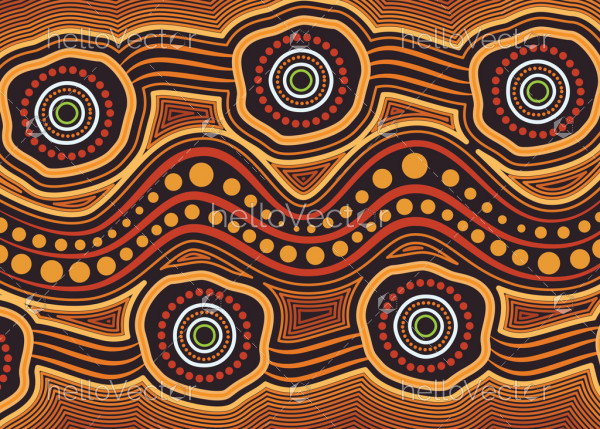 Aboriginal art vector background - Connection concept