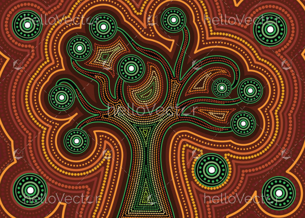 Aboriginal dot art vector background with tree.