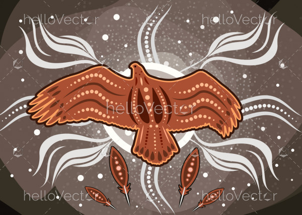 Aboriginal dot art vector painting with eagle