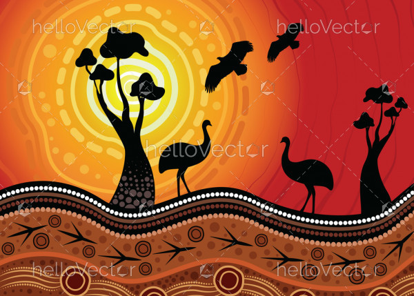 An illustration based on aboriginal style of background depicting nature.