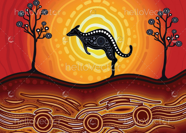 Aboriginal art vector painting with kangaroo