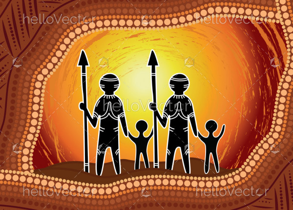 Aboriginal dot art vector painting. Family concept
