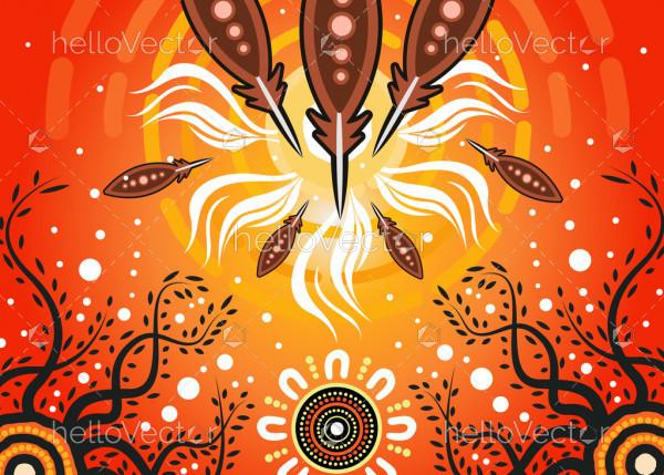Illustration based on aboriginal style of background.