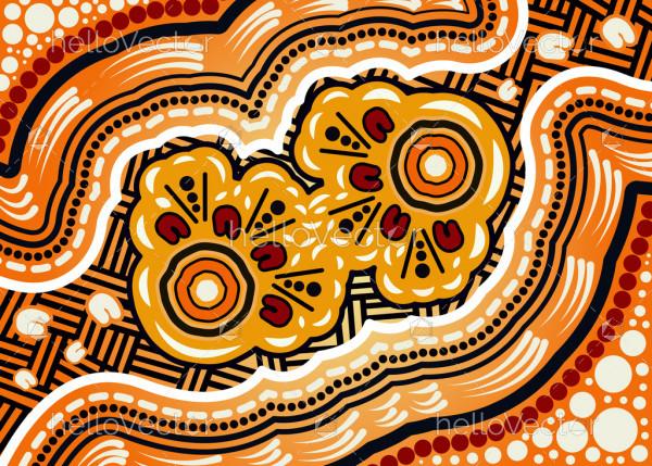 Illustration based on aboriginal style of dot background.
