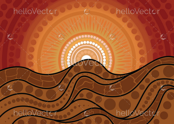 Nature concept, Aboriginal dot art vector painting depicting mountain