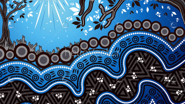 Aboriginal dot art vector background, Nature concept