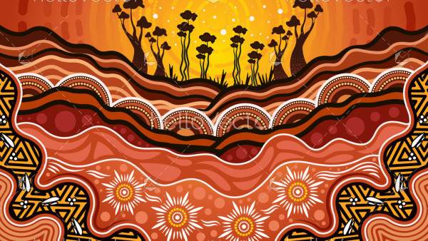 Aboriginal dot art vector background, Nature concept