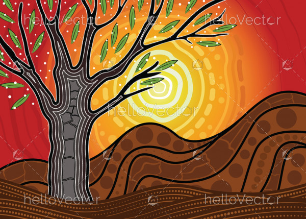 Tree on the hill, An illustration based on aboriginal style of painting depicting nature.