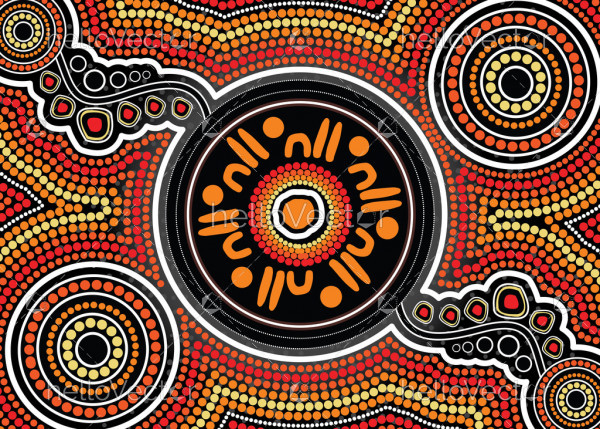 Illustration based on aboriginal style of background.