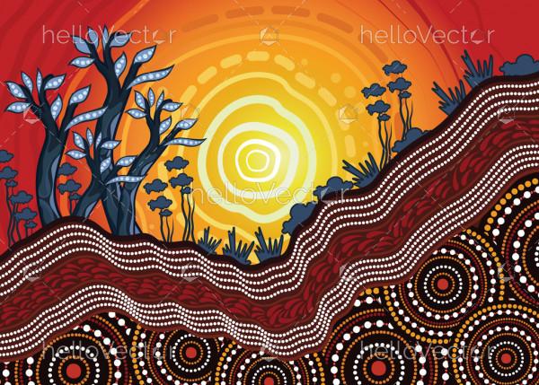 Aboriginal art vector background depicting nature.