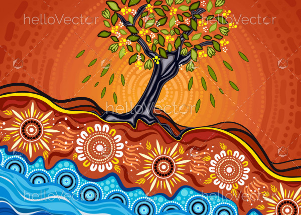 Tree on the hill, An illustration based on aboriginal style of background depicting nature.