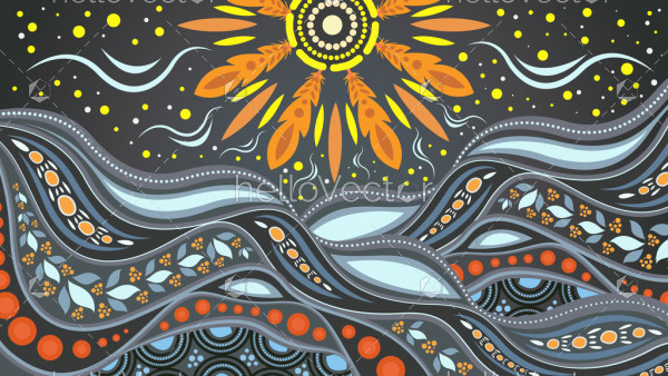 Nature concept, Aboriginal dot art vector painting depicting mountain