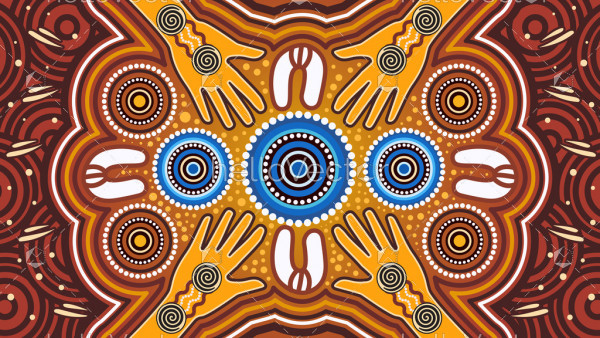 Aboriginal art vector painting. Meeting and unity concept