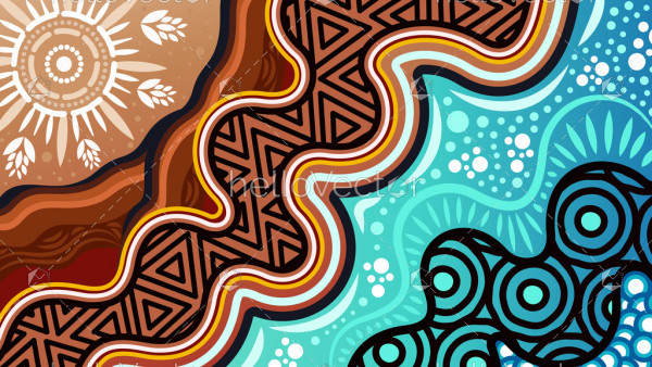 An illustration based on aboriginal style of background
