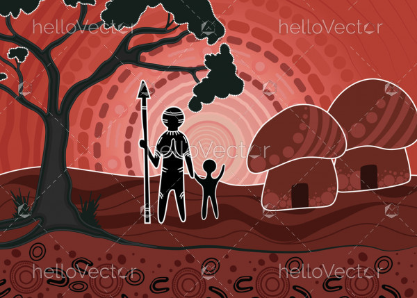 Aboriginal dot art vector painting