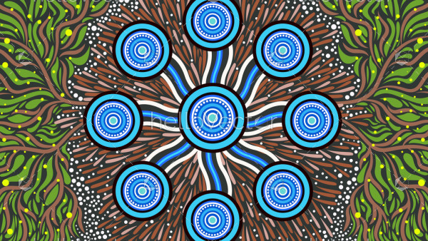 Illustration based on aboriginal style of painting. Connection concept