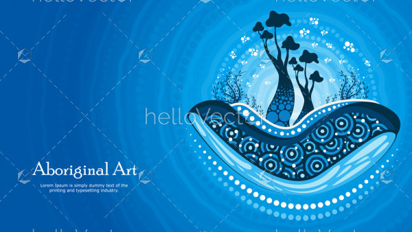 Aboriginal art vector banner with tree, Nature concept