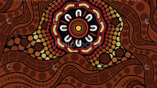 Illustration based on aboriginal style of dot background.