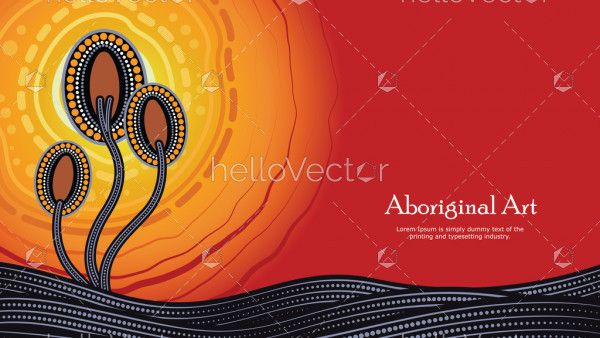 Aboriginal dot art vector banner with text, Nature concept