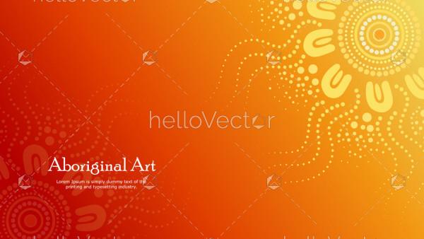 Aboriginal dot art vector banner with text.