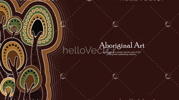 Aboriginal dot art vector banner with tree