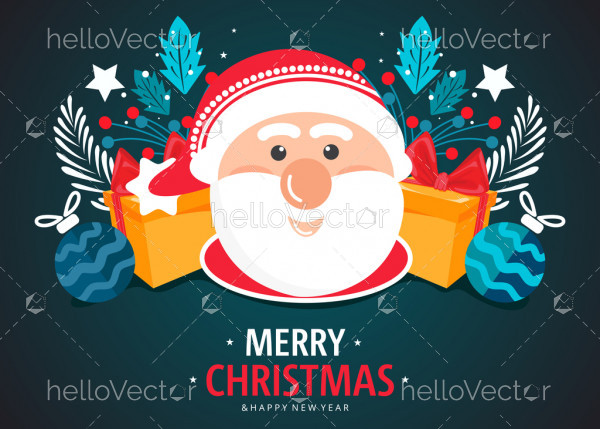 Christmas vector background with happy santa claus