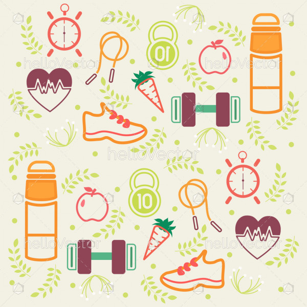 Fitness and diet pattern background with healthy lifestyle icons