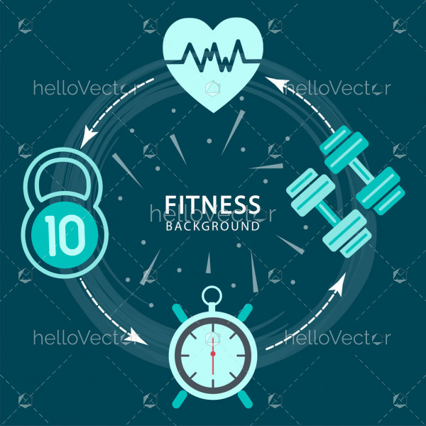 Fitness background with icons - Vector illustration