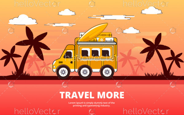 Travel by bus, Travel and Tourism flat design - Vector Illustration