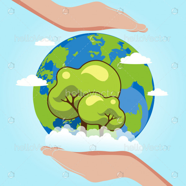 Earth day, Vector save earth concept graphic with globe