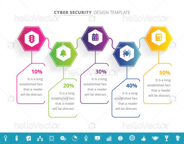 Cyber security infographic template with 16 extra icons - Vector Illustration