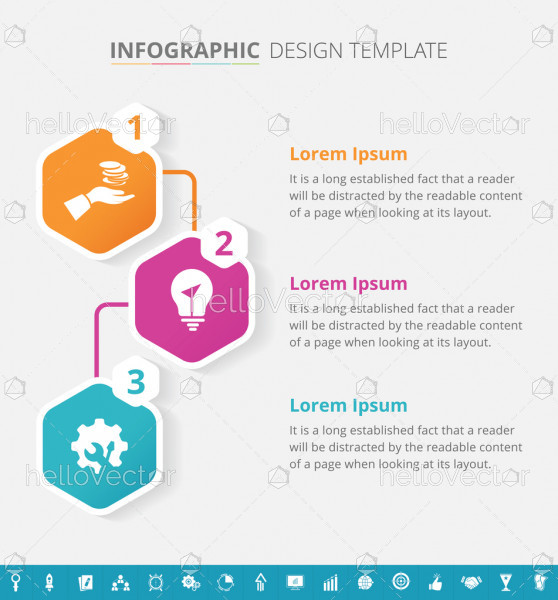 Infographic template design with 16 extra icons - Vector Illustration