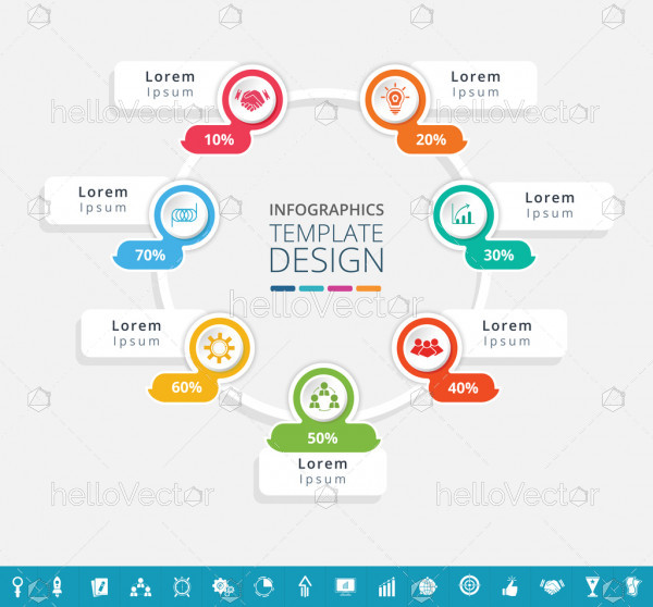 Cycle infographic design with 16 extra icons - Vector Illustration