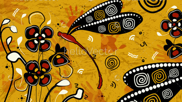 Aboriginal art background with dragonfly