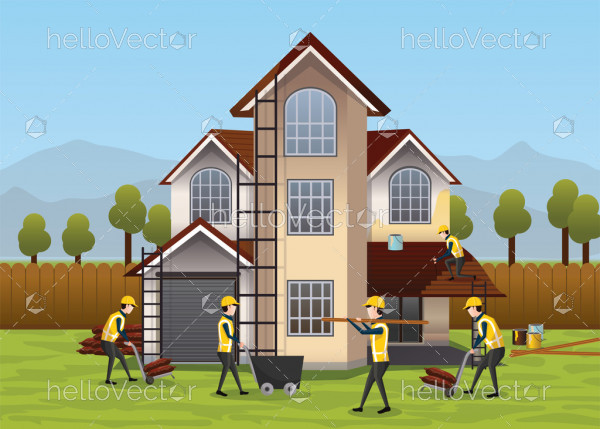 Building, house construction design & concept. People working on house development - Vector Illustration