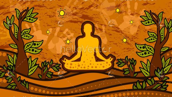 Aboriginal art vector painting, Meditation concept