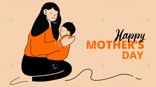 Happy mother's day layout design with mother holds her baby in her arms