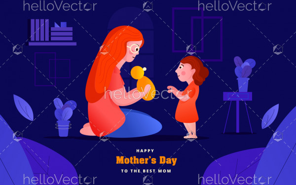 Mother and daughter playing with doll, Happy mother's day graphic