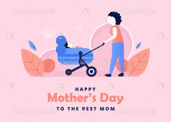 Mother walking with baby stroller. Happy mother's day vector graphic