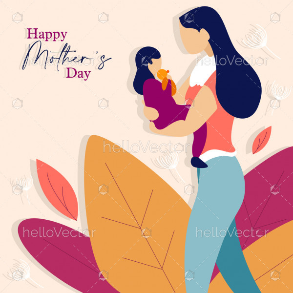 Mother holds her baby, Happy mother's day graphic design