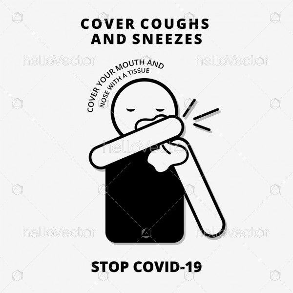 Cover your cough and sneeze signage - Stop Covid-19